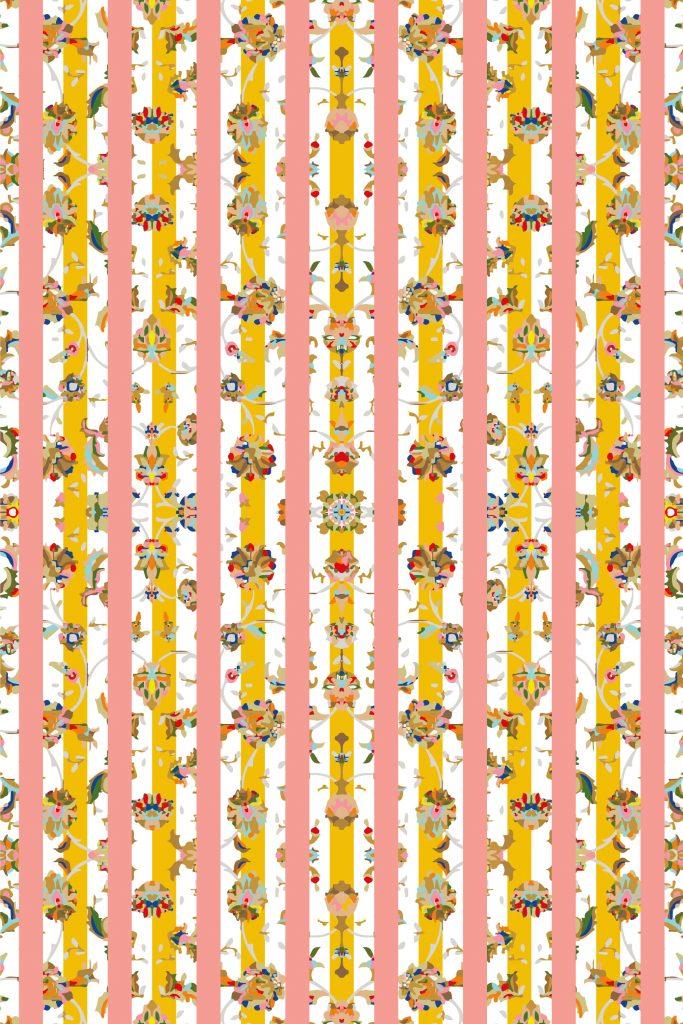 CARPT floral striped handmade linen carpet Meadow Bars
