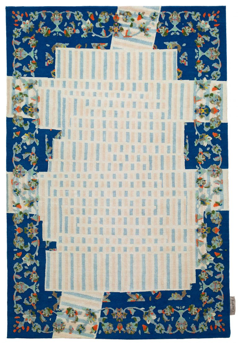 Carpt blauer floral gestreifter handgefertigter Leinen Himalayaschurwolle Teppich Tendril Tapes Afternoon