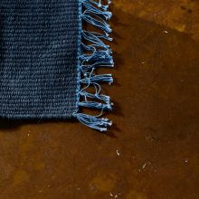 Carpt handgewebter Leinen Kelim Teppich India Kilim Blue Monday