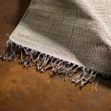 Carpt handgewebter Leinen Kelim Teppich India Kilim Dusty Fringes