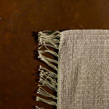 Carpt handgewebter Leinen Kelim Teppich India Kilim Pale Ivy Fringes
