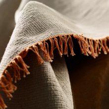 Carpt handgewebter Leinen Kelim Teppich India Kilim Tangerine Fringes