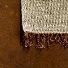 Carpt handgewebter Leinen Kelim Teppich India Kilim Woody Fringes